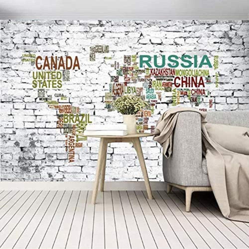 Mural en sala TV fondo ladrillo 3D color Alpha World Map ...
