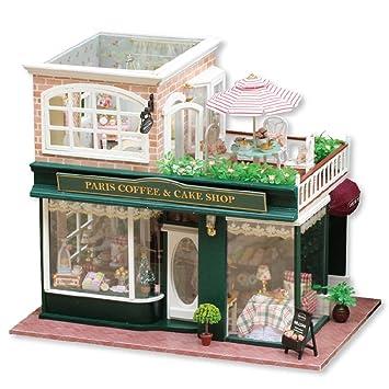 Puppenhaus   Greencolourful Handgemachte DIY Kabine Puppenhaus Miniatur  Haus Möbel Kits, Cafe Shop