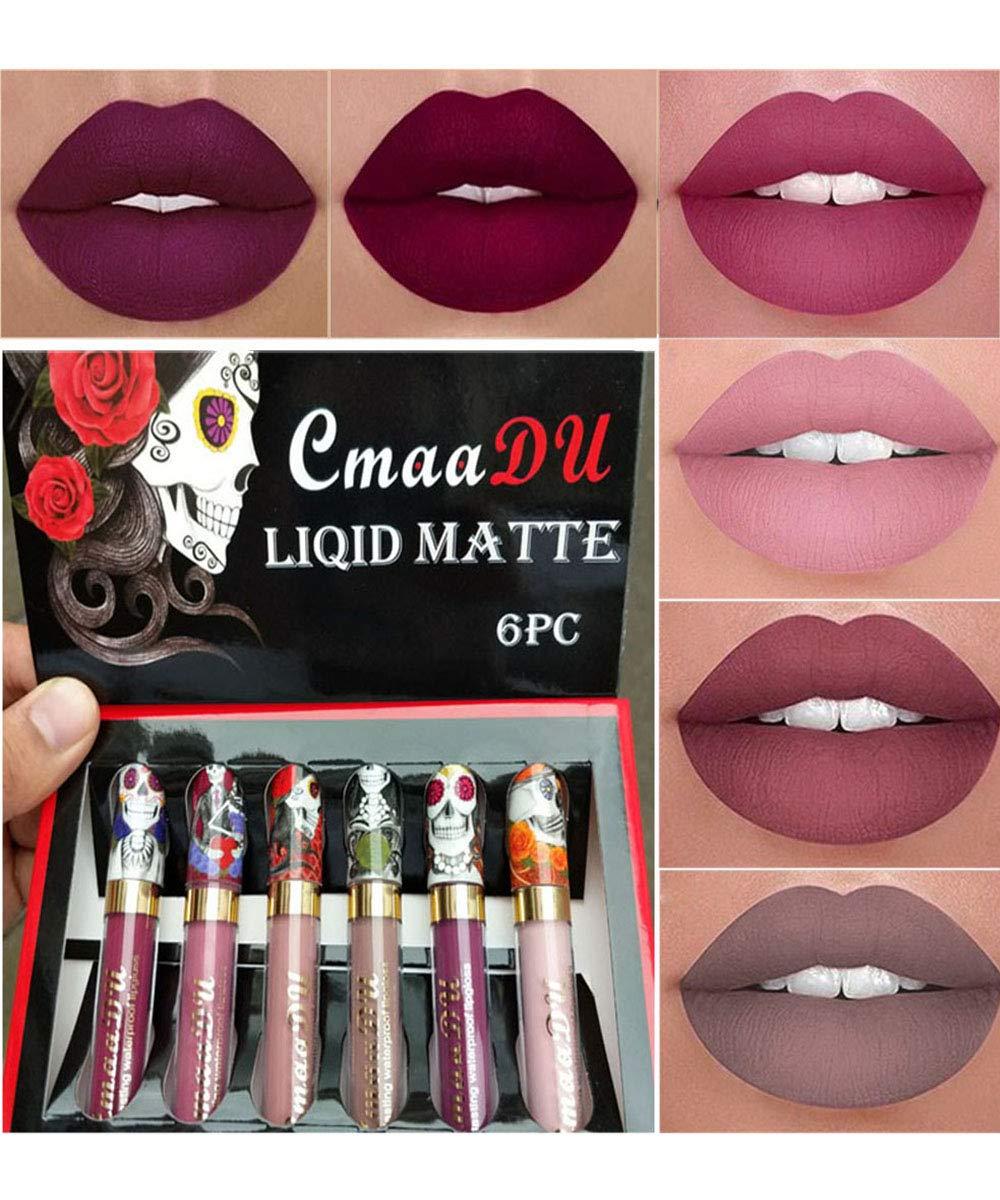 Emirde 6 Colors set Lip Gloss Skull Face Matte Velvet Liquid Lip Gloss Long Lasting Waterproof Lipstick Unique Charming Attractive Cosmetics Makeup Set 6pcs