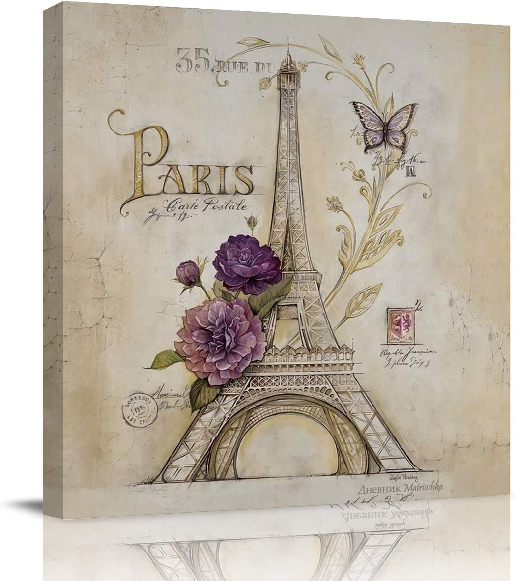 Print Picture Painting Canvas Wall Art Vintage Paris Effiel Tower Purple Flower 12x12in Modern Wall Art Decoration for Living Room Bedroom