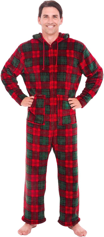 Men's Warm Fleece One Piece Footed Pajamas, Winter Christmas Onesie with Hood