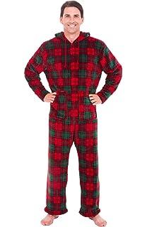 763dcf93b129 Alexander Del Rossa Mens Fleece Plaid or Print Onesie