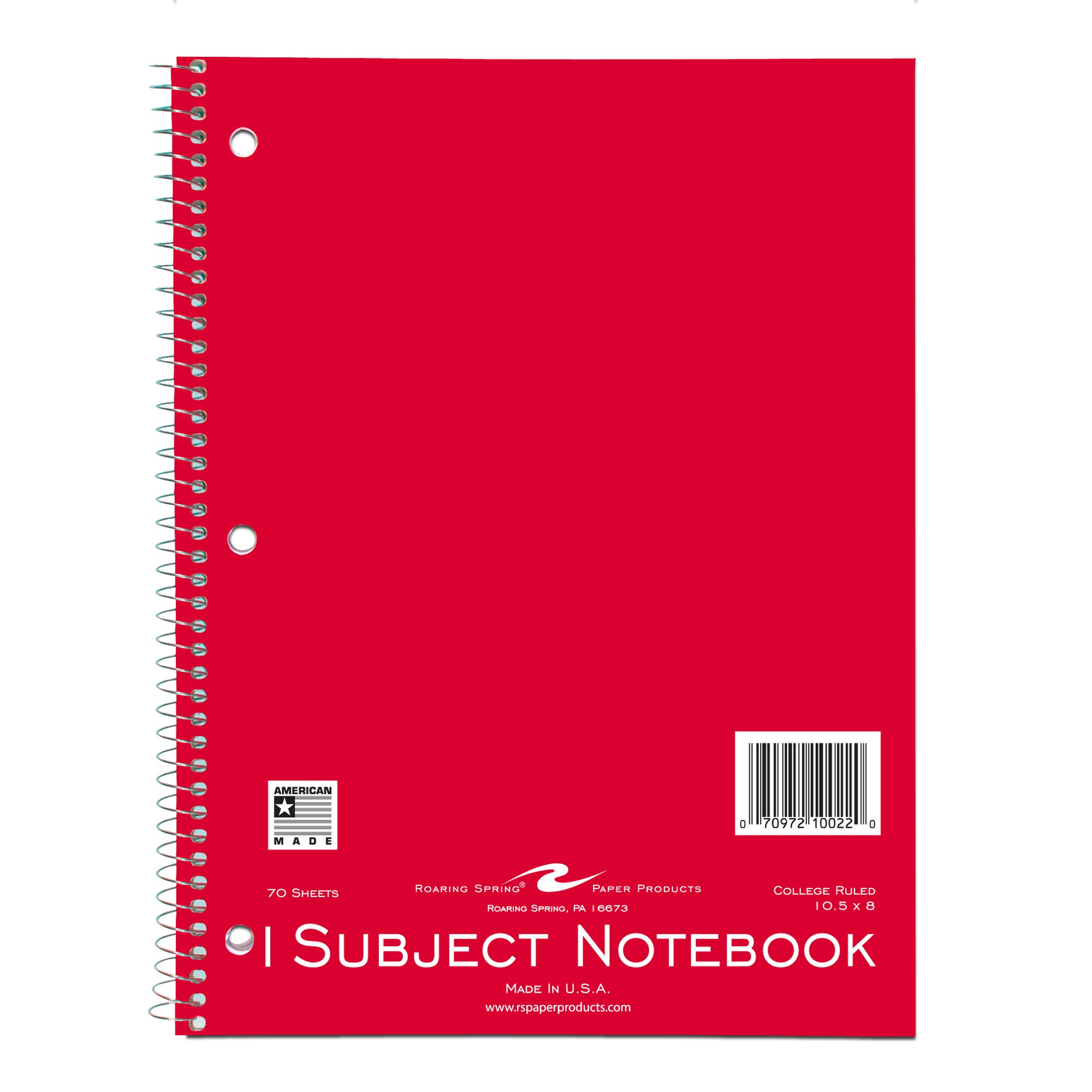 Roaring Spring Wirebound Notebook, One Subject, 10.5 x 8 Inches, 70 Sheets, College Ruled, Assorted Color Covers (10022)
