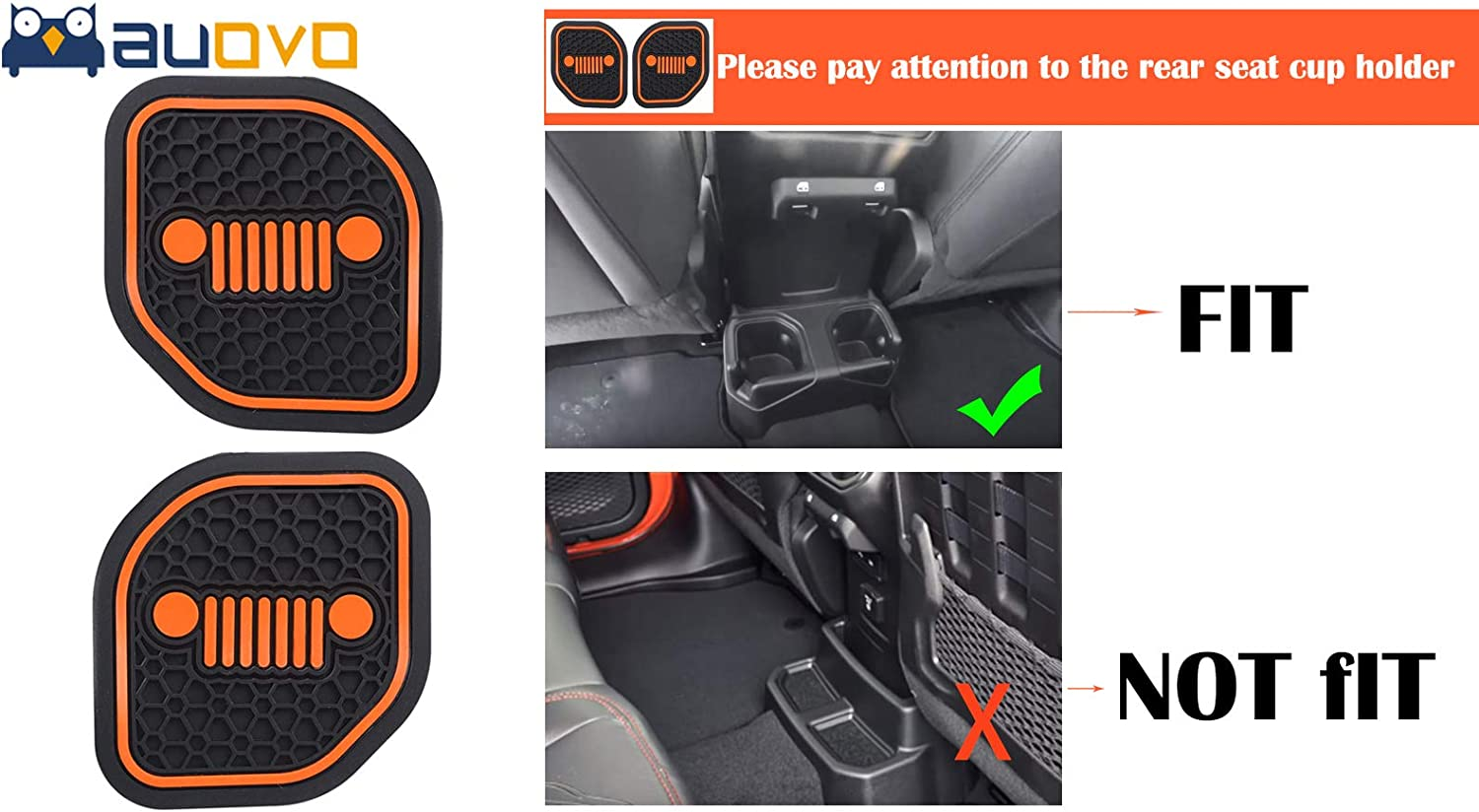 Auovo Auto Cup Holder Inserts Coaster Fit for 2018 2019 Jeep Wrangler JL JLU 2020 Gladiator JT Cup Mat Pad Interior Decoration Accessories 4 Pcs Kit Red