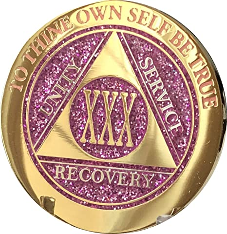 Pink /& Silver Plated 5 Year AA Chip Alcoholics Anonymous Medallion Coin V