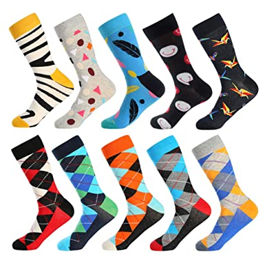 0418b8230024 Bonangel Men's Fun Dress Socks - 10 Pairs Colorful Funny Novelty Crazy Crew  Socks Pack with
