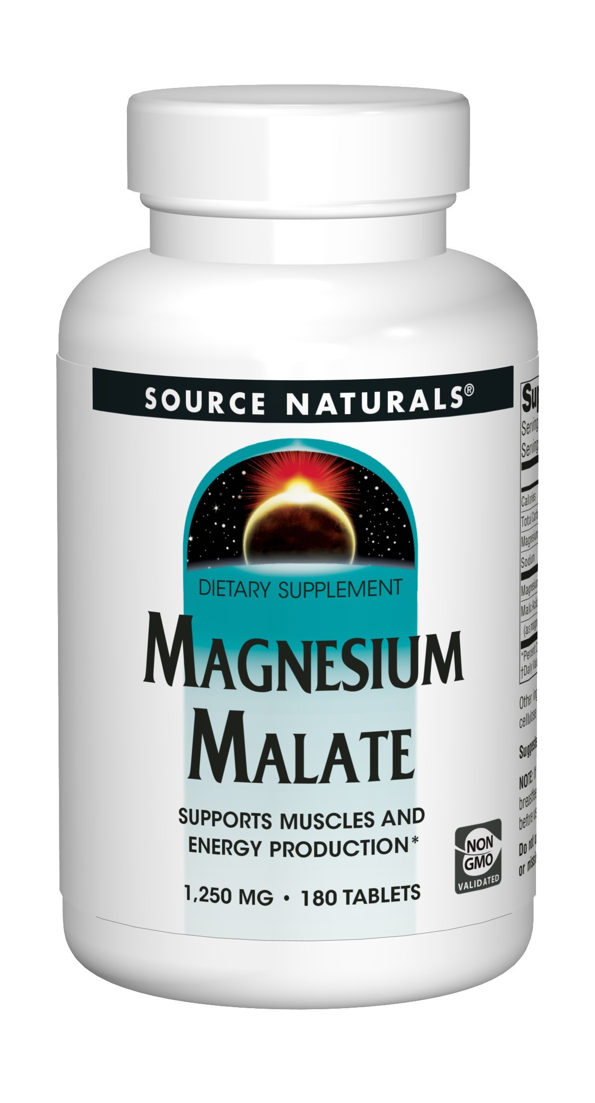 Source Naturals Magnesium Malate 1250mg Supplement Supports Muscle Function, Health and Energy Production - Essential