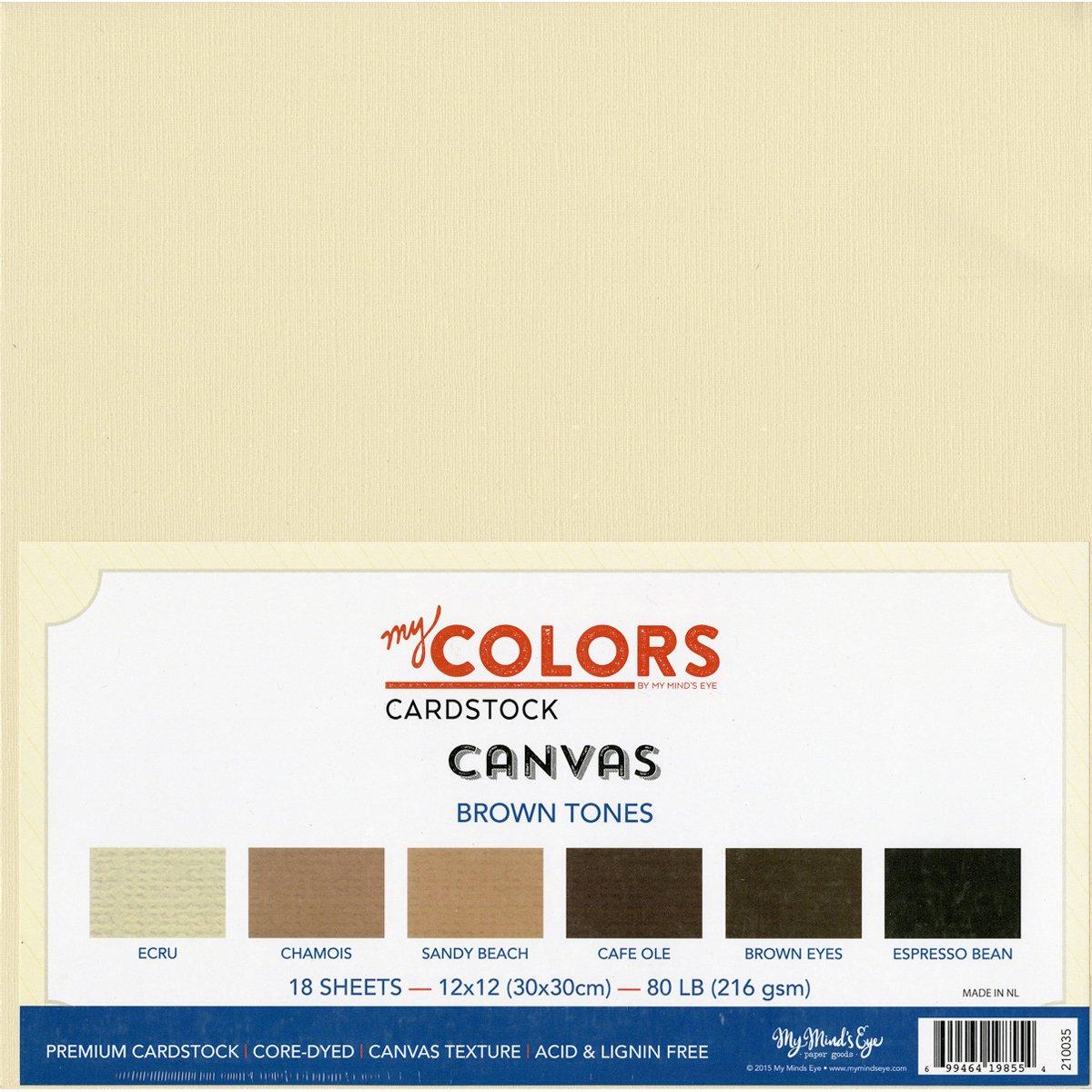 My colori Cartoncino 30 x 30 cm, 18 pezzi, tonalità di cartoncino, in tela, colore: marrone My Minds Eye 210035