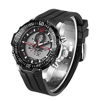 TYWZF Reloj De Alarma Impermeable para Hombre Reloj Digital De Pulsera De Cuarzo Analógico Correa De Goma Digital Reloj Horas,Red: Amazon.es: Deportes y ...