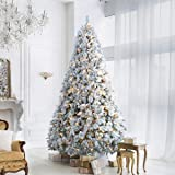ANOTHERME 9ft Snow Flocked Christmas Tree Feel Real, Pre-Lit 800 Warm Lights UL Certified w/ 2,182 PE PVC Branch Tips…