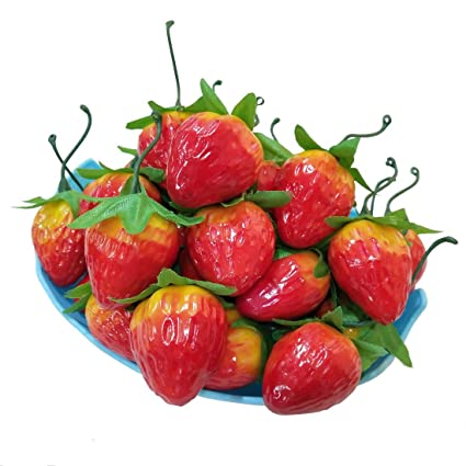 lorigun 30pcs artificial lifelike simulation small red strawberry set decoration fake fruit home house kitchen dcor - Strawberry Kitchen Decoration