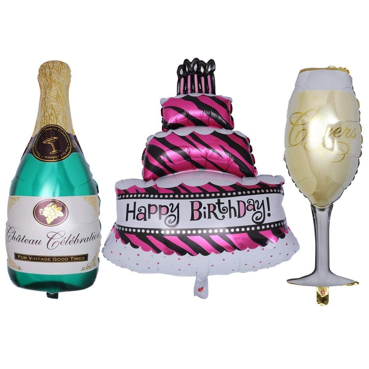 Masti Zone Happy Birthday Cake Shape Foil Balloon With Champagne Bottle And Wine Glass 16 Inch Amazon In Toys Games