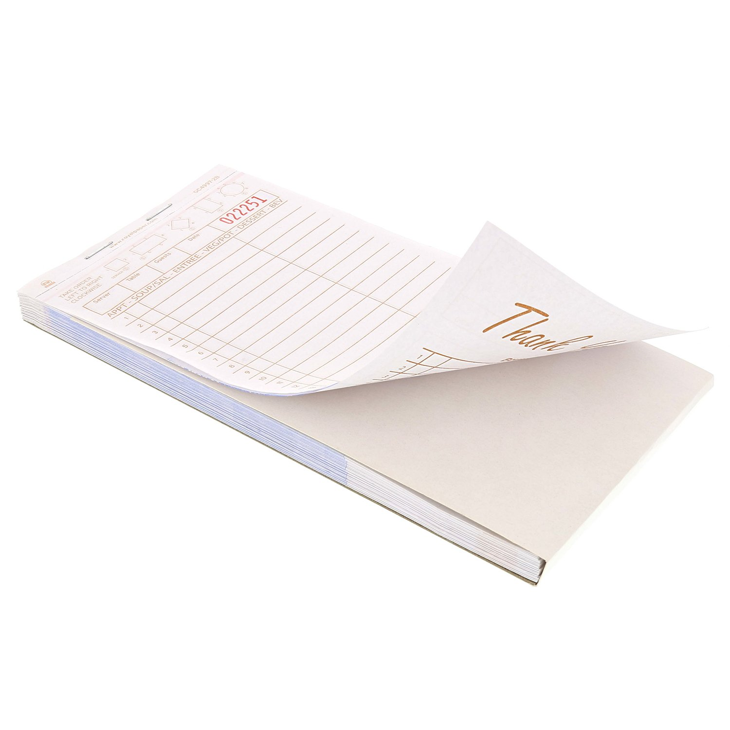 Royal Tan Guest Check Board, Carbonless, 2 Part Booked, Package of 10 Books