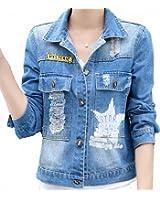 Frayed Printing Womens Denim Jacket Coats Large Size Long Sleeve Feminino Jaquetas Bomber NEW Loose Campera