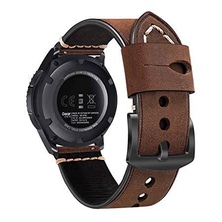 FINTIE Bracelet pour Samsung Galaxy Watch 46mm/ Gear S3 Frontier/ Classic/ Huawei Watch GT Sport Smartwatch - en Cuir Véritable Watch Remplacement Bracelet ...
