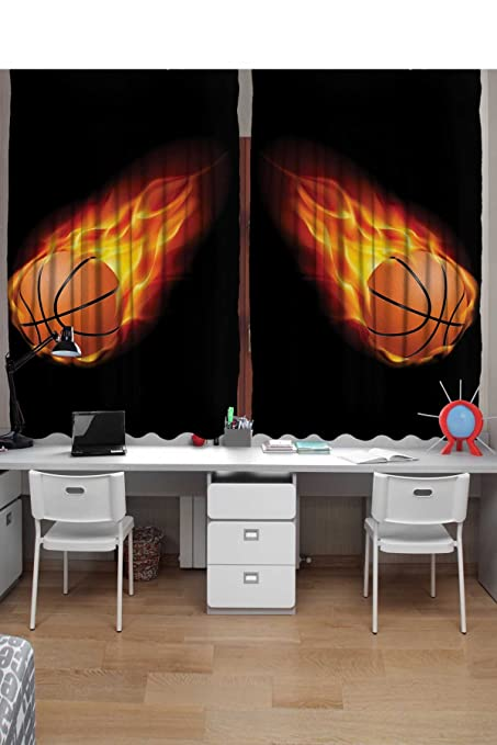 Ambesonne Sports Curtains 2 Panel Set Basketball Lover Ball On Fire Speed Fireball Shoot Hoops
