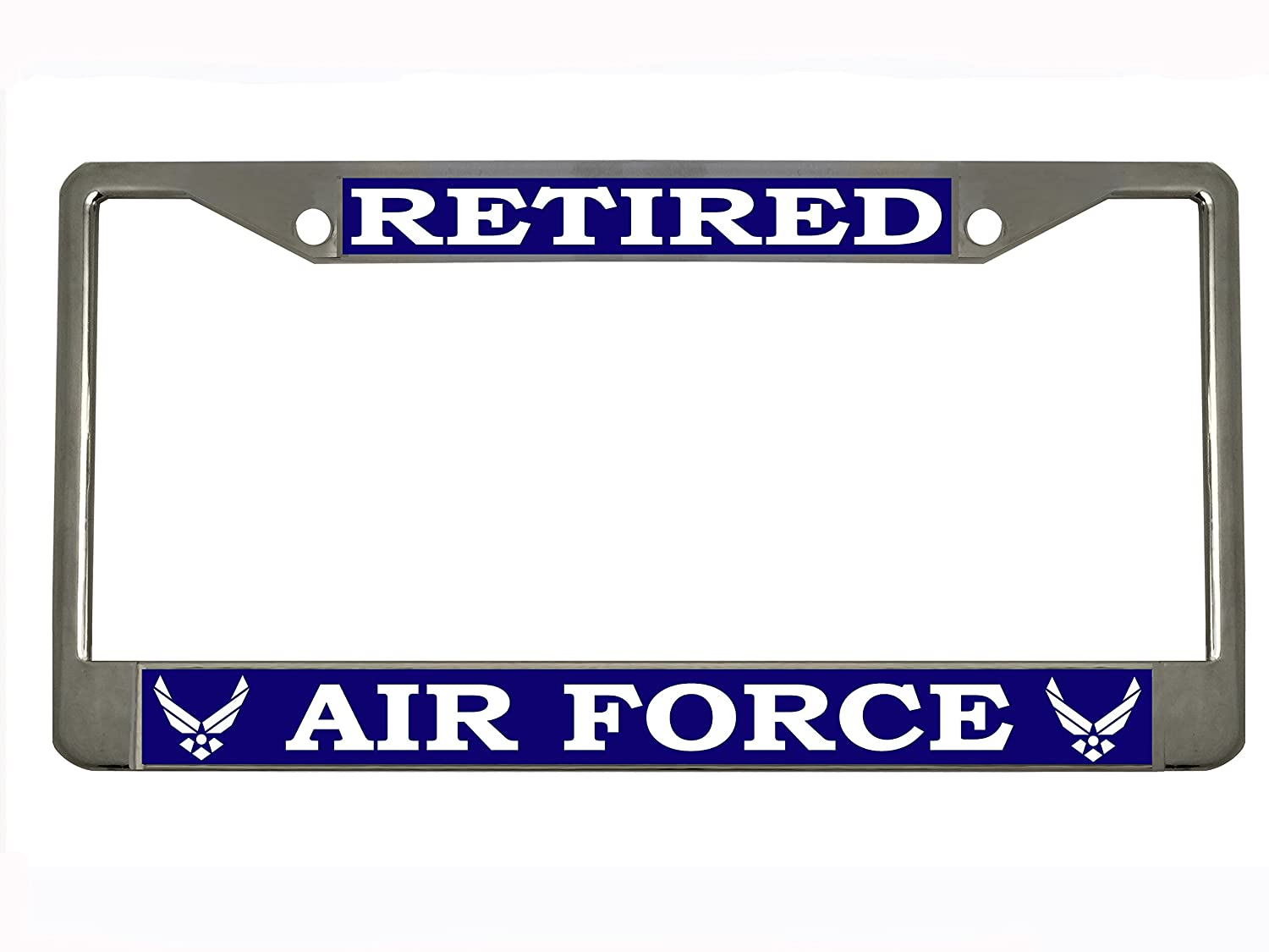 US Air Force Retired Steel License Plate Frame Tag Holder STHANCAT OF TAMPA