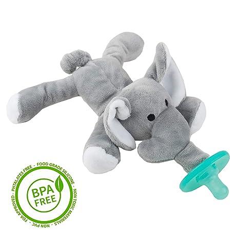 Chupete con Elefante Cheeky Chimp, Juguete de felpa suave con chupón de silicona médica sin BPA, Chupeta con peluche para bebé, chupete de animales ...