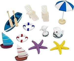 AUEAR, Set of 14 Pack Miniature Beach Figurines Ornaments Kit Set Tiny Beach Chair Boat Accessories for DIY Fairy Garden Bonsai Dollhouse Ocean Beach