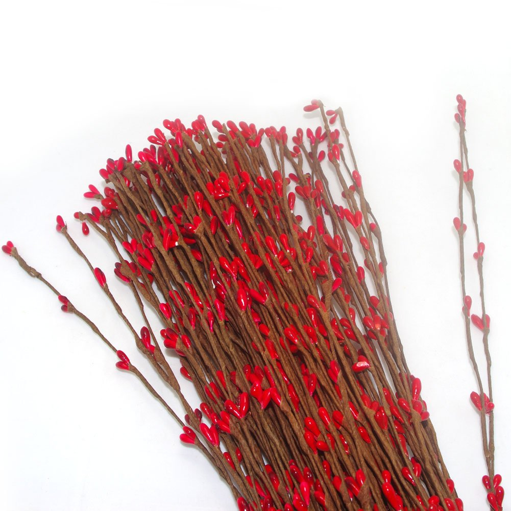 Pursuestar Artificial Bendable Primitive Folk Pip Berry Garland Rattan Hair Pieces Flower Decor DIY Crafting for Bride Bridesmaid Women Teens Girls 40cm Red Set of 100