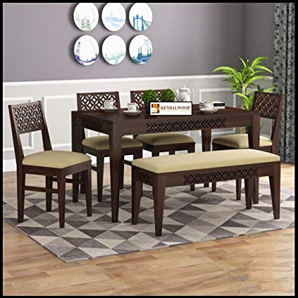 Kendalwood Furniture Sheesham Wood Cnc Cuting Dining Table With 4 Chairs With 1 Bench 6 Seater Dining Set Dining Room Furniture Finish Color Walnut Finish With Cream Cushion Amazon In Home Kitchen