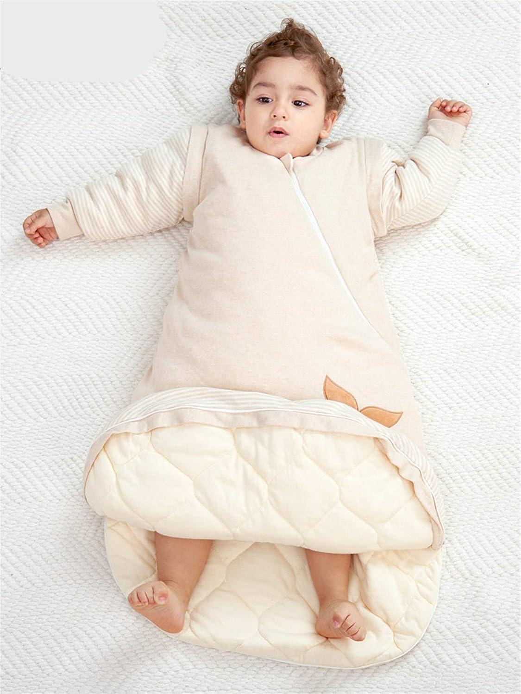 Chilsuessy Kinderschlafsack Baby Winterschlafsack Vorne 3.5 Tog und hinten 2.5 Tog Schlafsaecke aus GOTS Bio Baumwolle Verschiedene Groessen von Geburt bis 4 Jahre alt S//Koerpergroesse 60-70cm Braun