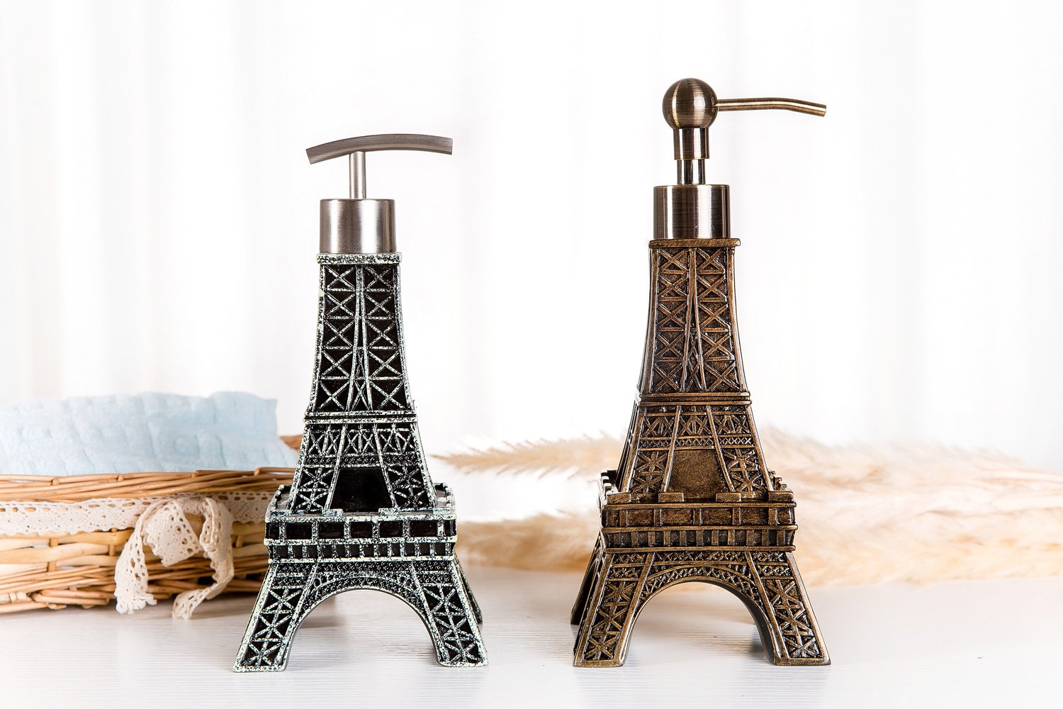 SILOKO 3D Eiffel Tower Metal Pump Soap Dispenser for Kitchen or Bathroom Bronze by SILOKO (Image #3)