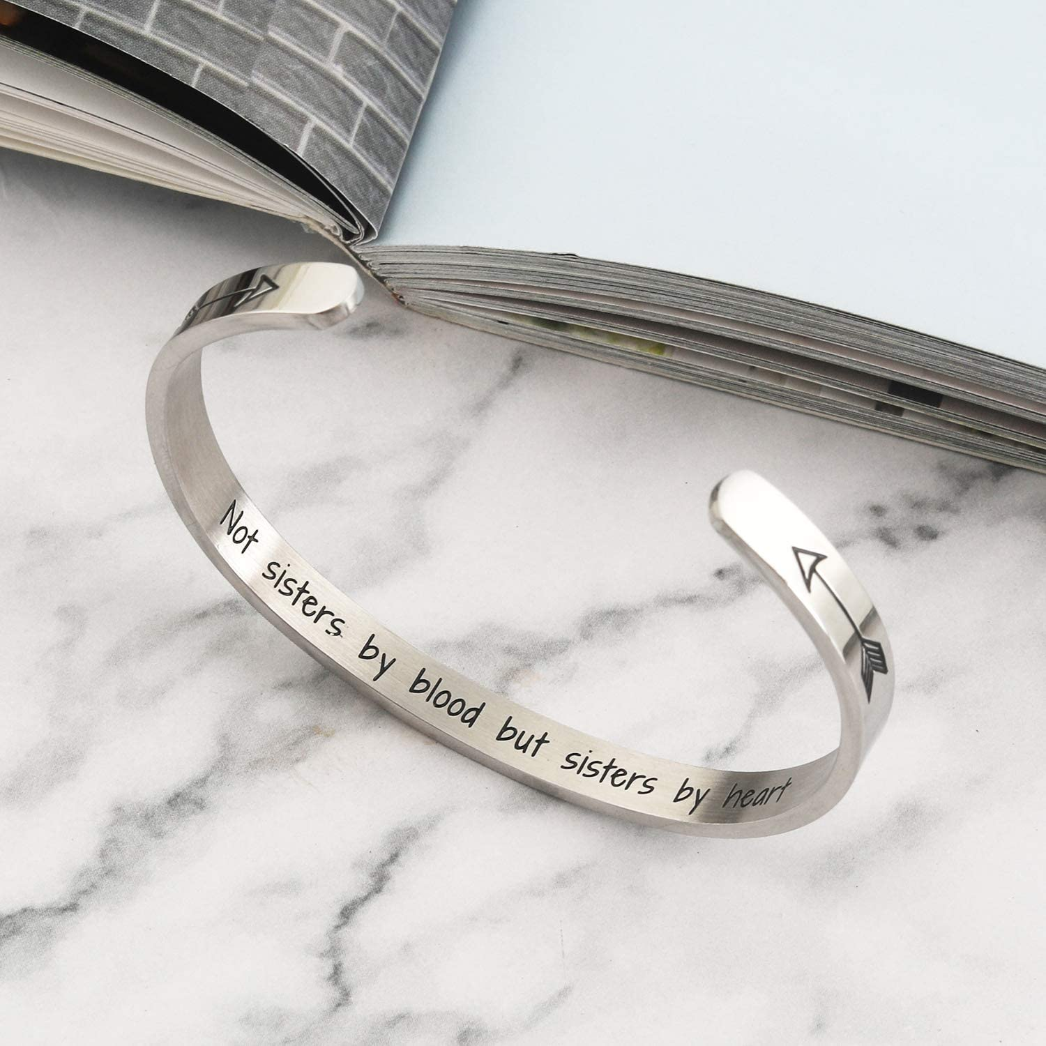 Sister Bracelet Sister Gift Not Sisters By Blood But Sisters By Heart Bracelet Sister Bracelet from Sister Friends Cuff Bangle for Sister Friends Christmas Birthday Gifts