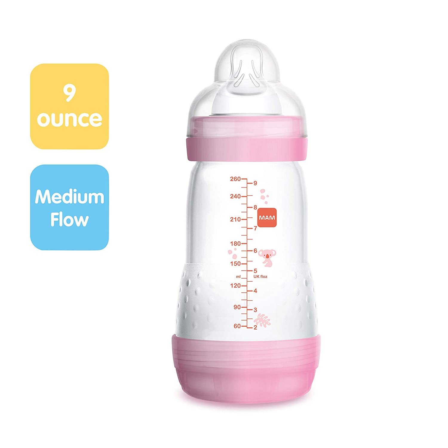 Baby Bottles for Baby Boy MAM Easy Start Anti-Colic Bottle 9 oz Medium Flow Bottles with Silicone Nipple 1-Count Blue Baby Essentials