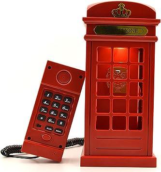 Gearmax® Cabina telefónica Vintage Londres diseñado USB carga noche LED lámpara Touch Sensor mesa escritorio ligero brillo ajustable con cable teléfono fijo para casa dormitorios decoración: Amazon.es: Electrónica