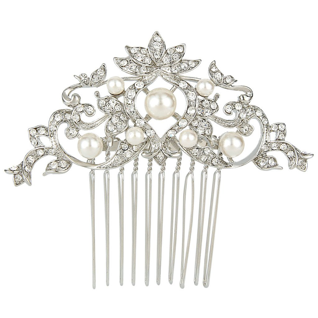 Ever Faith Silver-Tone Austrian Crystal Cream Simulated Pearl Lotus Flower Leaf Hair Comb Clear N05401-1