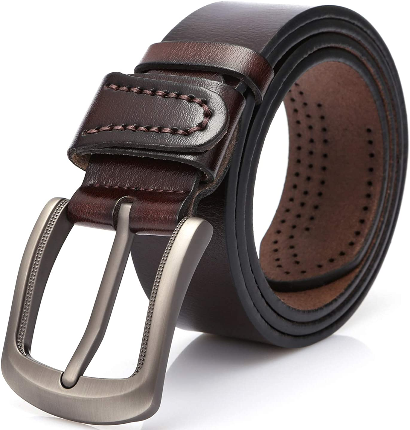 DOVAVA Cinturón de Cuero para Hombre,Cinturón de Cuero 100% Genuino para Hombres, Adecuado para Uso Informal, Formal y de Negocios
