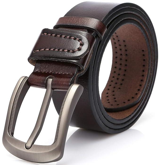 DOVAVA Cinturón de Cuero para Hombre, Cinturón de Cuero 100 ...