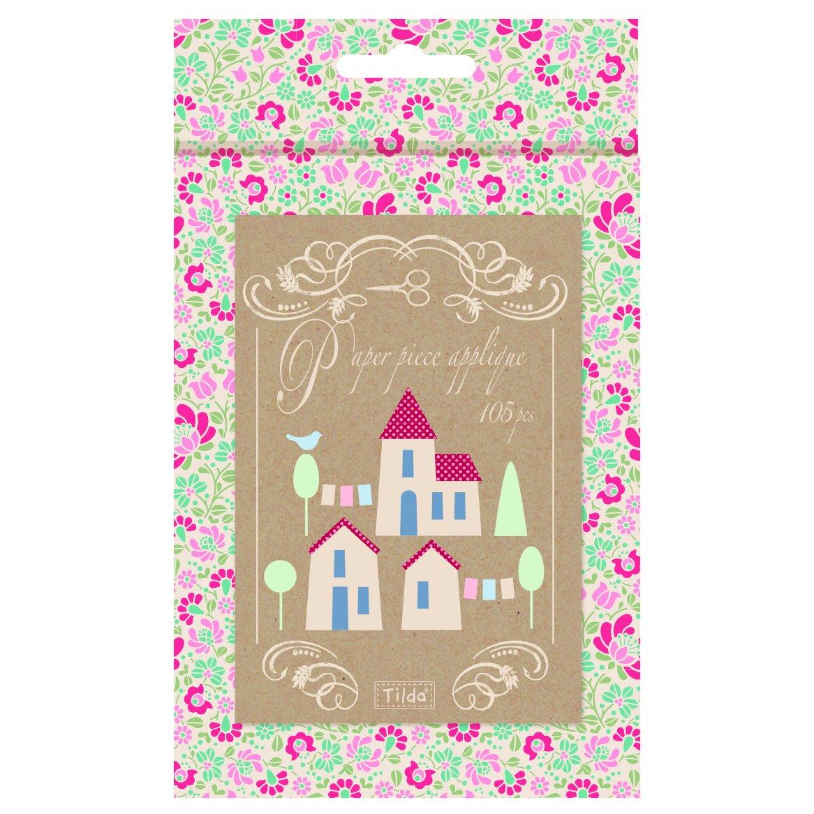 Tilda Cottage pièce Applique Village, Papier, Assortis, 12.5x 5x 12.5cm TD481577
