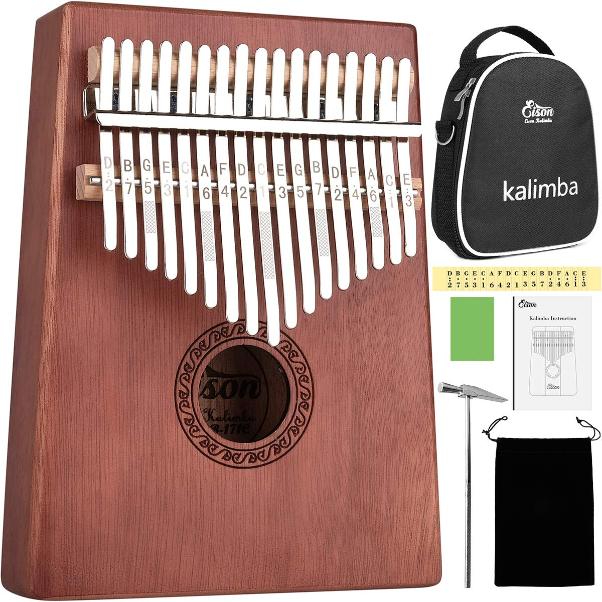 Kalimba,Eison Kalimba Thumb Piano 17 keys with Case Bag, African Finger Piano Kit, Cloth bag, Instruction, Tune Hammer, Key Stickers, Solid Wood Mahogany Body- Best Gift for Music Fans Adult Kids