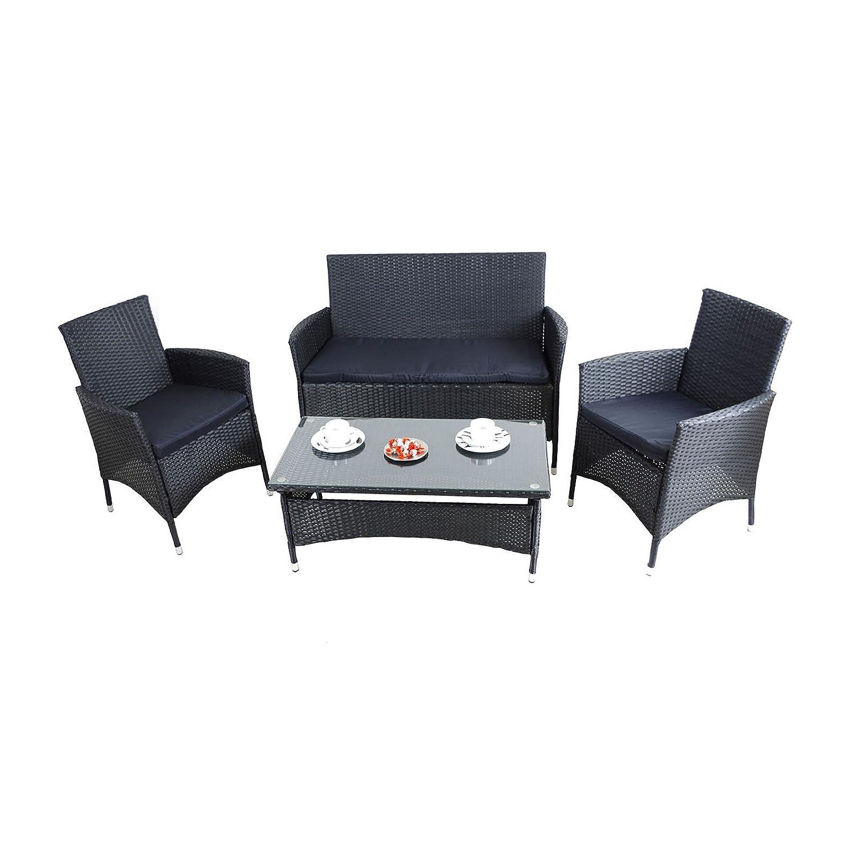 Lounge Set 7tlg Jamaica Pe Rattan Tisch Schwarz Gartenmöbel