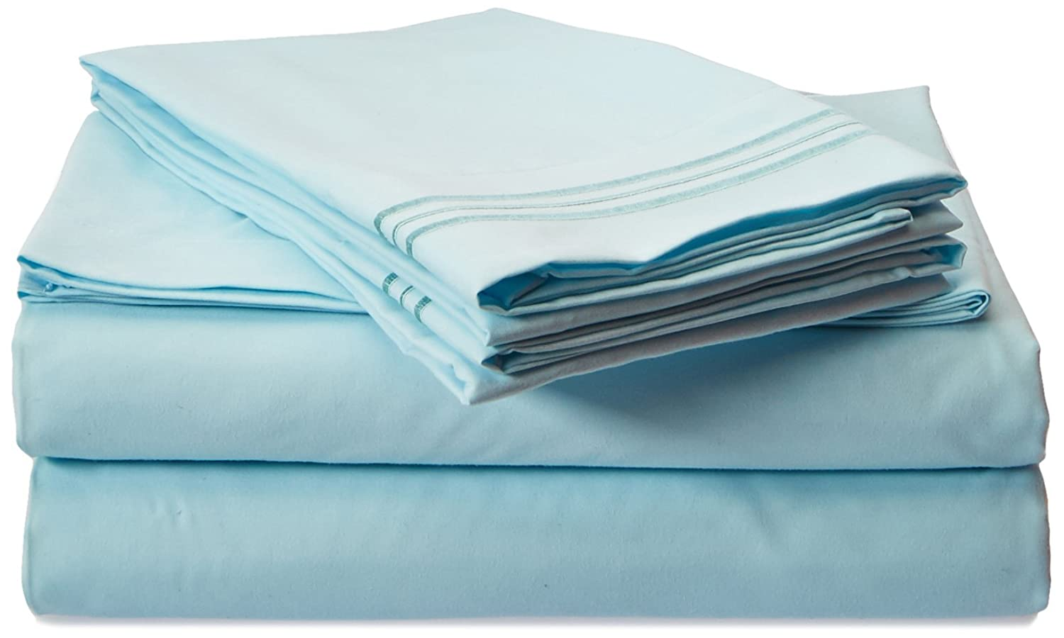 4pc Bed Sheet Set - King, Light Blue Aqua