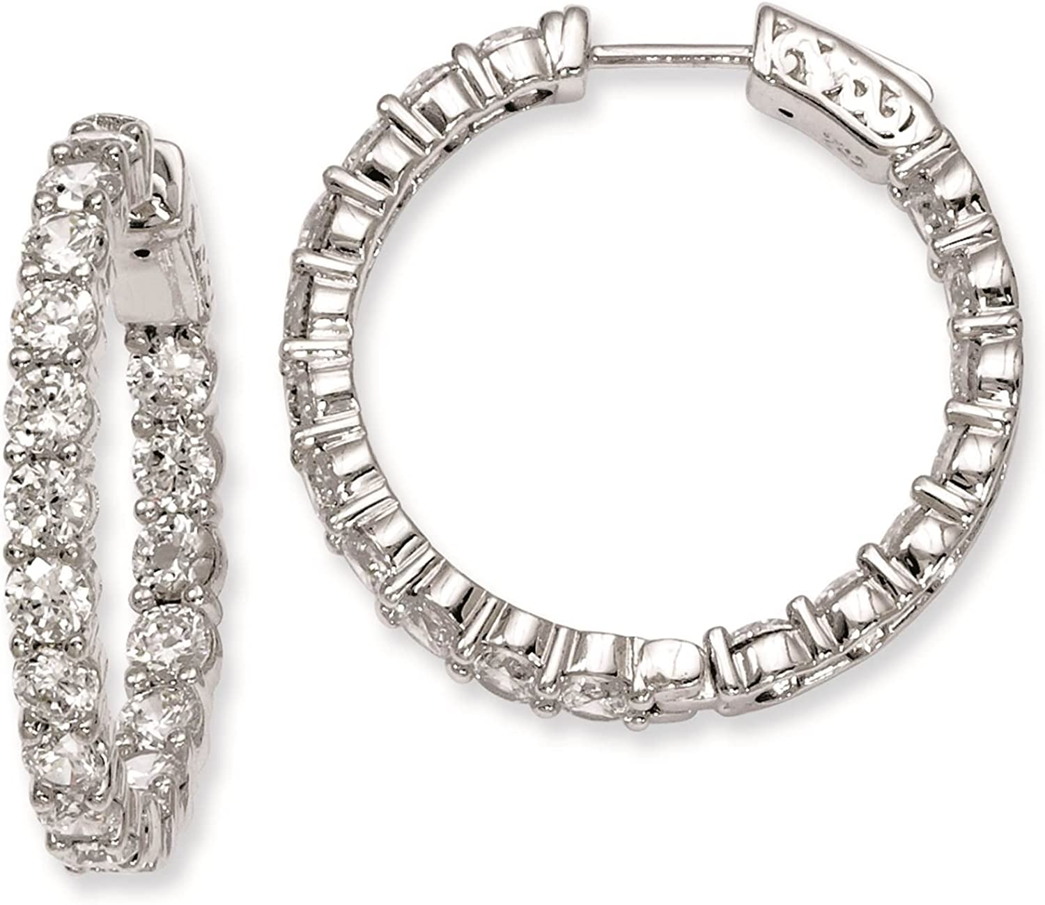 925 Sterling Silver Rhodium-plated Polished CZ In /& Out Hoop Earrings 4mm x 28mm by 925 Sterling Shimmer