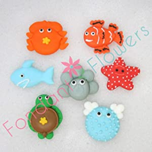 Set of 21 Royal Icing Edible Sea Creatures - Cupcake Toppers by Fondant Flowers