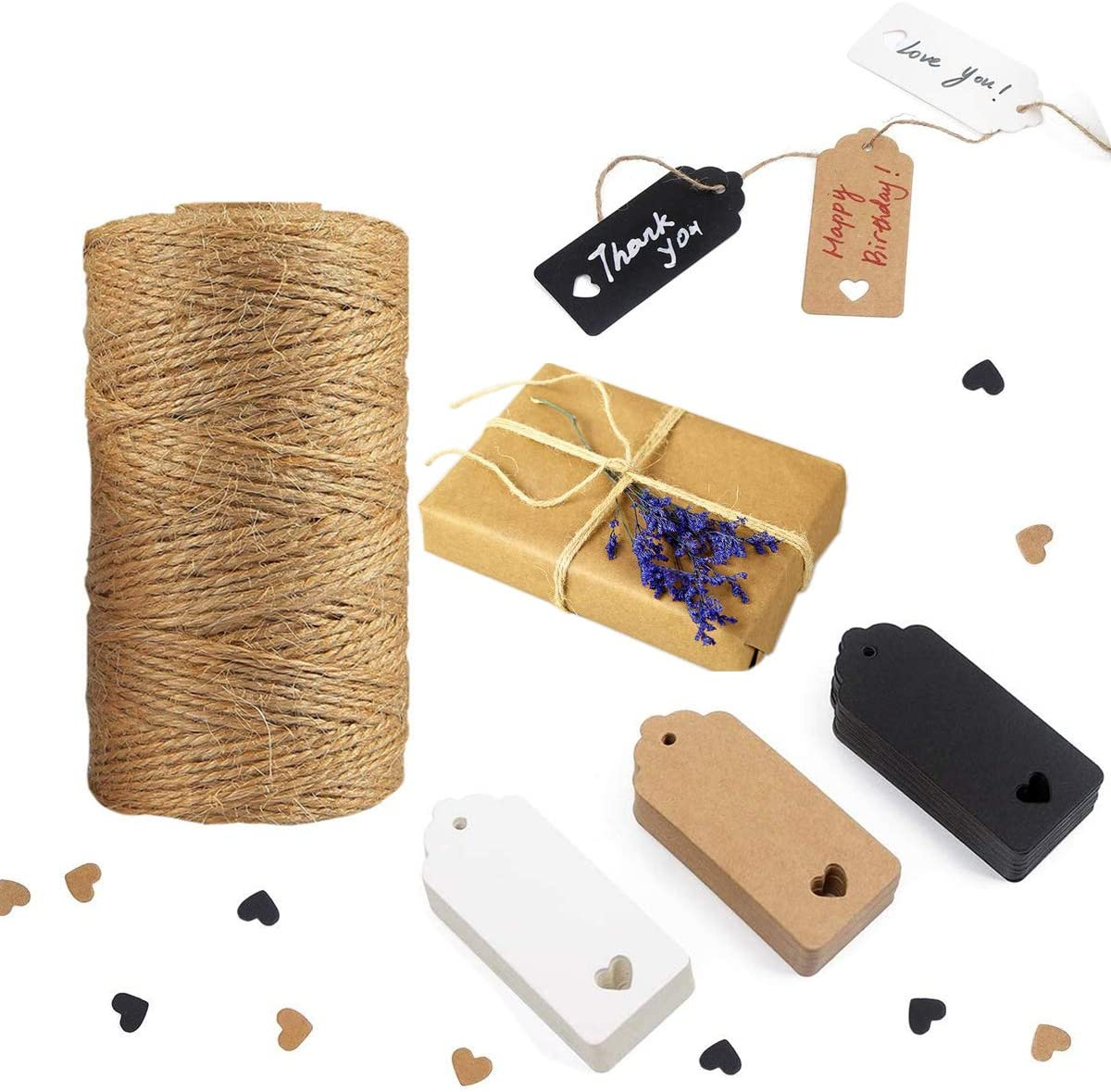 Tretar 330Ft(100M) Natural Jute Twine String,99 PCS Kraft Paper Gift Tags Lables,Gift Twine Tags Wrapping Kit for Crafts, Gift Wrapping, Packing, Gardening and Wedding Decoration