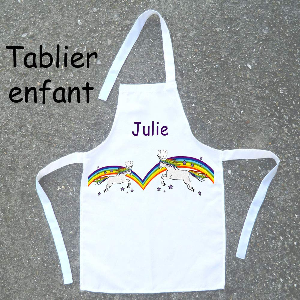 Tablier de cuisine enfant Licorne à personnaliser avec un Prénom (ex. Julie)
