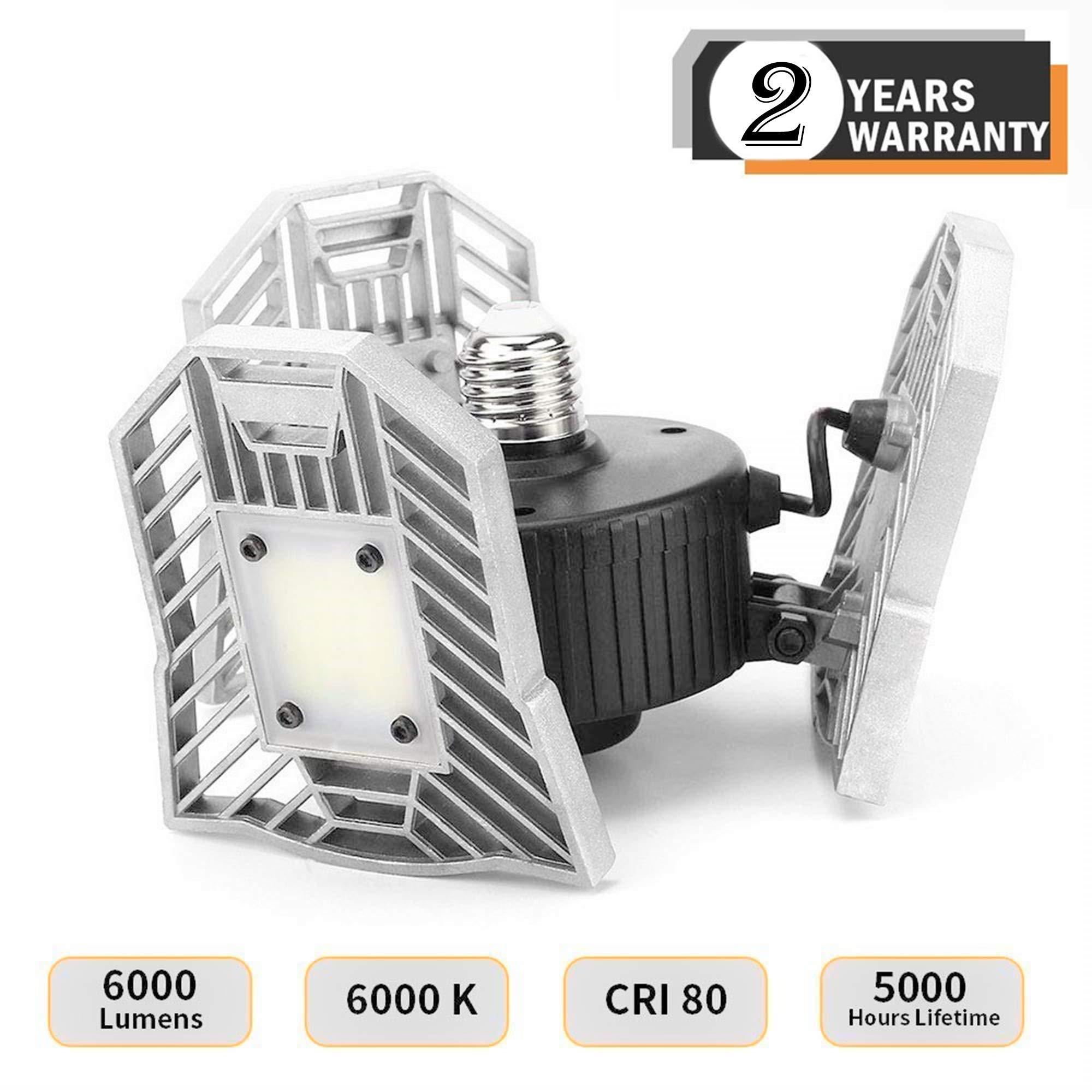 ELIVERN 60W (540W Incandescent Equivalent) Super Bright LED Garage Light, Garage Lights Ceiling, E26/E27 Medium Base, 6000LM 6000K Daylight for Home, Garage, Factory, Workshop, Basement, Warehouse etc