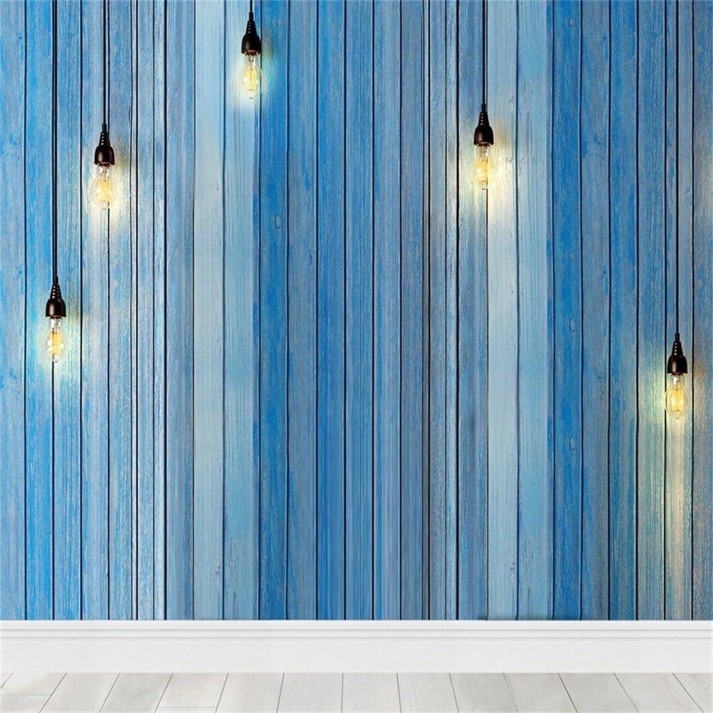 AOFOTO 10x10ft Artistic Backdrop Photography Background Cozy Blue Wooden Wall Droplight Bulbs Floor Tile Lovers Boyren Toddler Girl Portrait Scene Photo Shoot Studio Props Video