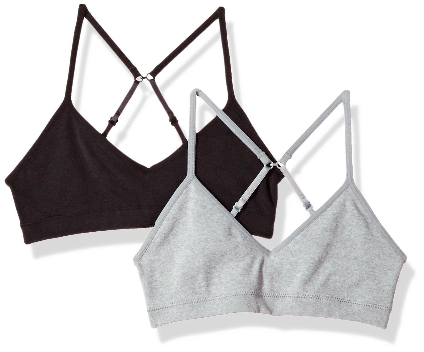 Hanes Big Girls' ComfortFlex Seamless Bralette 2-Pack, Black/Heather Grey, Medium
