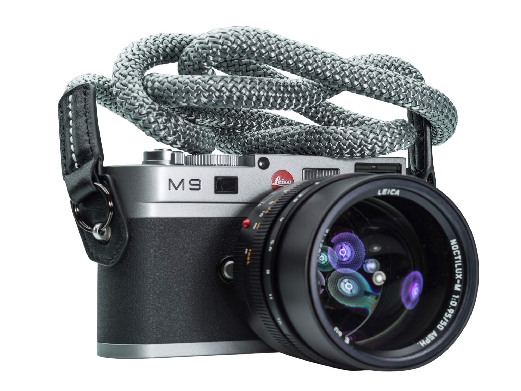Vi Vante Luxury Arctic Fox Sheetline Rope Camera Strap with Napa Leather Ends and electroplated mounting Rings