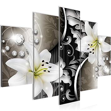 Bilder Blumen Lilien Wandbild 150 x 100 cm Vlies - Leinwand Bild XXL Format  Wandbilder Wohnzimmer Wohnung Deko Kunstdrucke Braun 5 Teilig - MADE IN ...