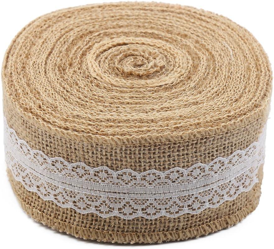 10M Pearl Hessian Burlap Jute Ribbon Rustic Wedding Banquet Craft Decor DIY