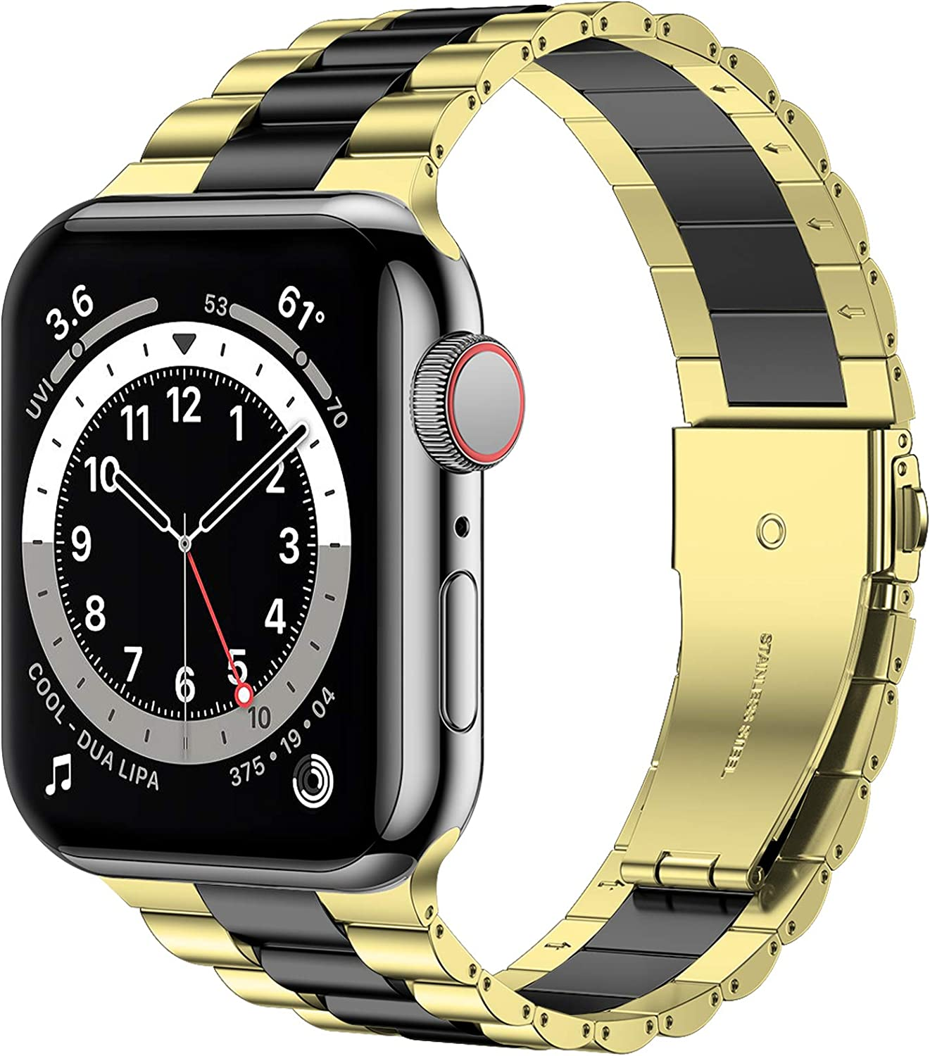 iiteeology Compatible with Apple Watch Band 44mm 42mm, Resin Stainless Steel Metal Link Wristbands for iWatch SE Series 6 5 4 3 2 1 - Gold+Black