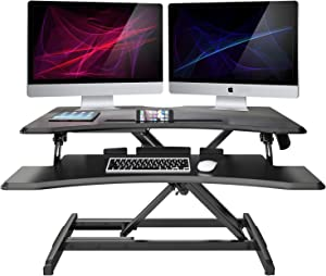 """LENTION Gas Spring Height Adjustable 30"""" Standing Desk for Home & Office, Ergonomic Sit to Stand Workstation with 30'' Compact Table-Top, Standup Computer Riser Converter fit 1 Laptop + 1 Monitor"""