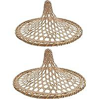 Beaupretty 2 peças de lâmpada de bambu com pingente retrô chineses Coolie Hats em forma de cesta de ratã, cúpula de vime…